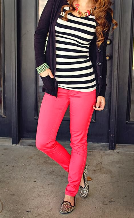 Colorful stripes and coral fall combo fashion