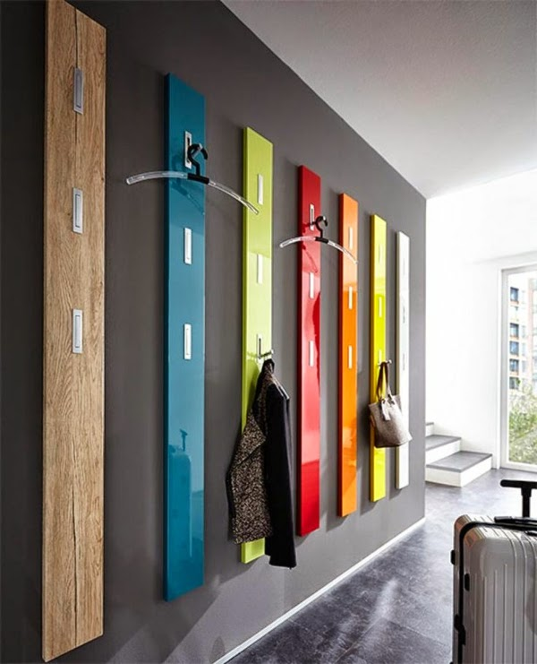 creative coat hooks designs made of wood in the shape of city buildings - Stylish Wall Hooks