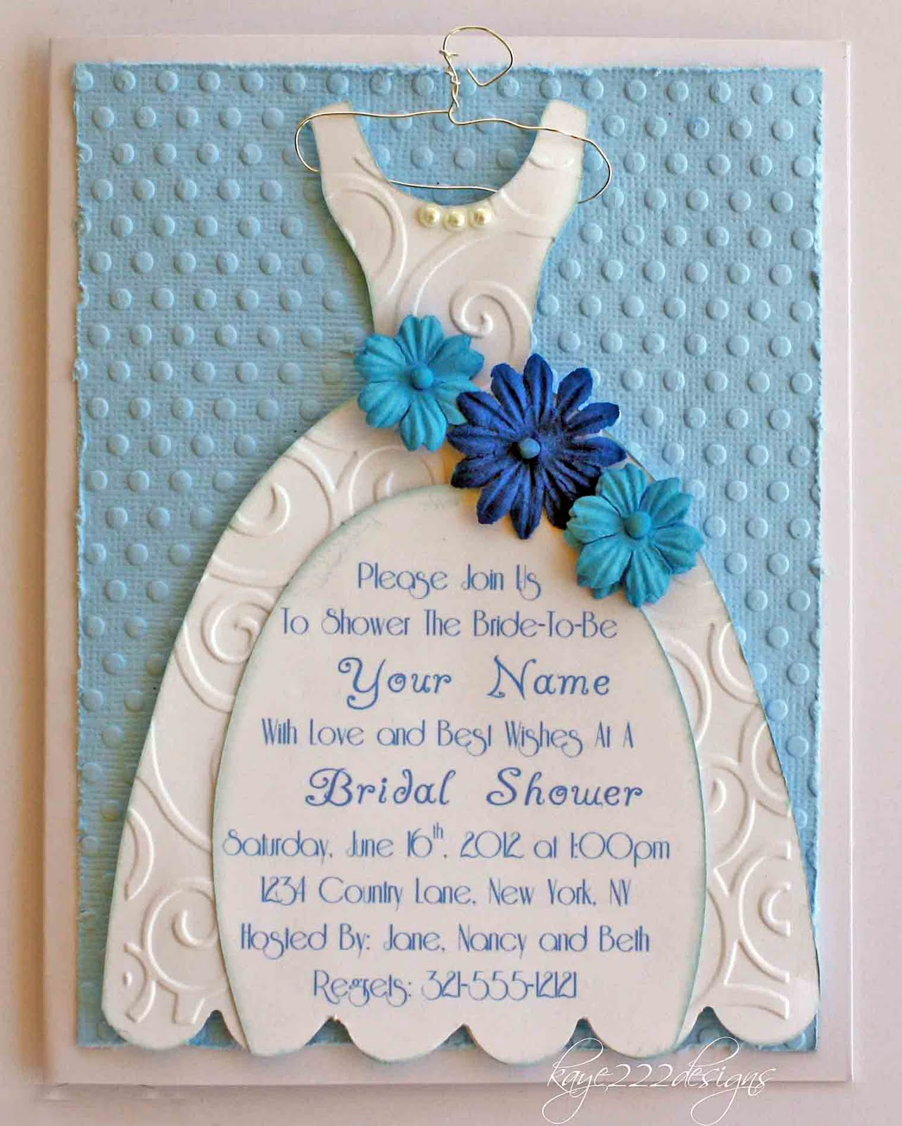 Here is a close-up shot of the embossing, flowers, pearls and hanger ...