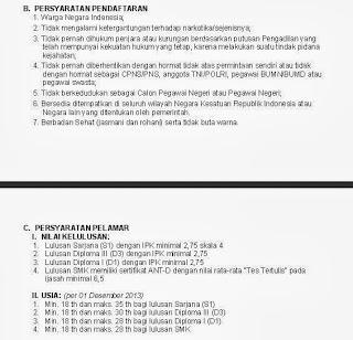 Persyaratan pendaftaran Lowongan seleksi CPNS BPPT September 2013 dua