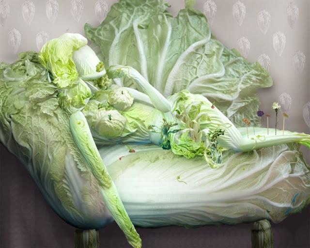 Ju Duoqi 桔多淇. Vegetable Art. Fantasias con Col China