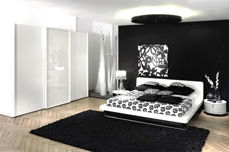 the shopping online: Design luxueux noir et blanc, chambre
