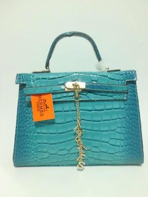 tas wanita terbaru, impor, import, tas branded Kelly Croco, Tas Kelly Croco warna Biru Muda, image
