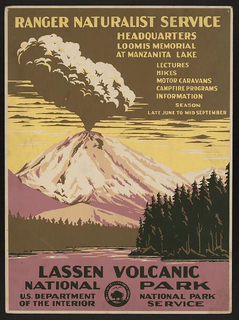 classic posters, free download, graphic design, national park, retro prints, travel, travel posters, vintage, vintage posters, national park, Lassen Volcanic National Park, Ranger Naturalist Service, US Dept of Interior - Vintage Travel Poster