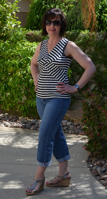 Striped top, Worn capri jeans, silver wedges from DSW