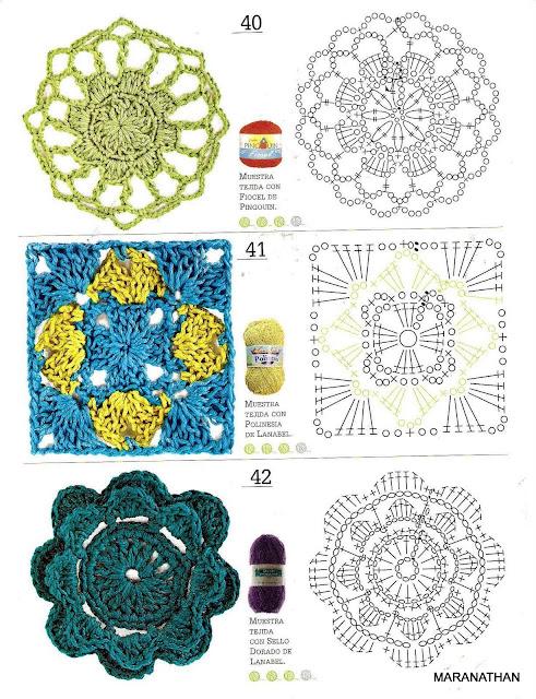 Motivos em crochet com gráficos