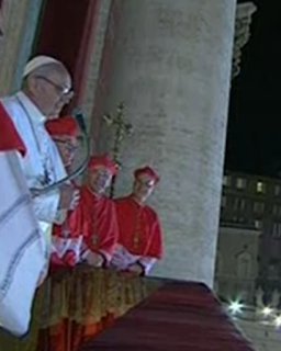 Pope Francis on balcony with cardinals