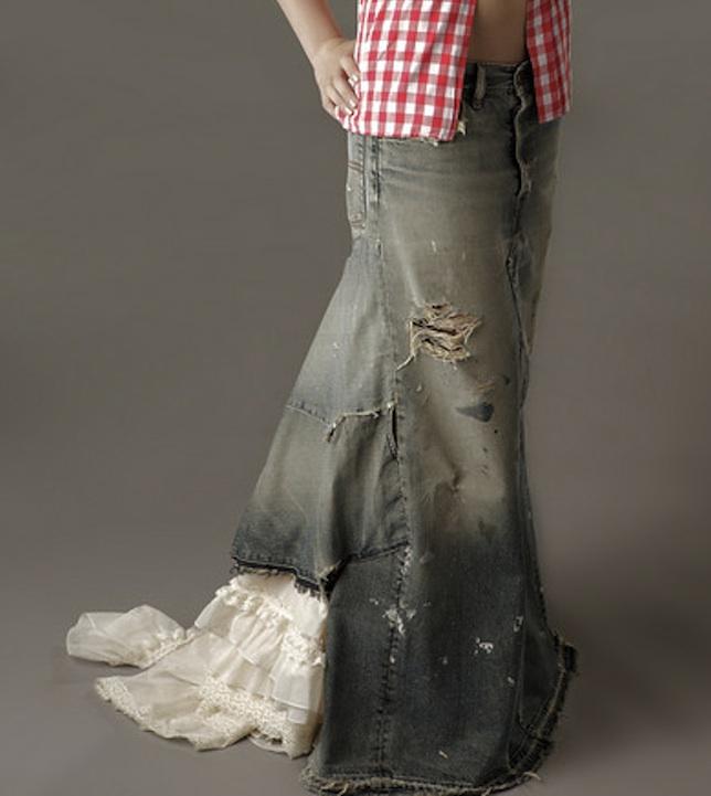 diy tutorial denim maxi skirt trashion helsinki