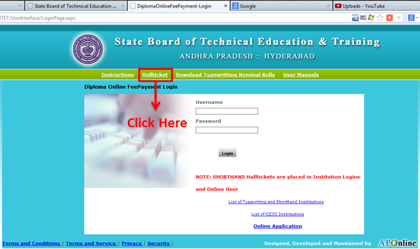 diploma online hall ticket download andhra pradesh