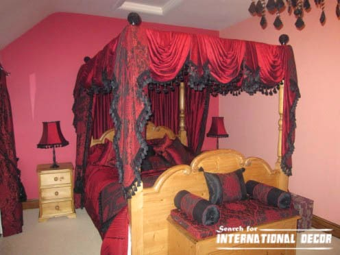 four poster bed canopy, canopy bed, romantic bedroom, red drapes canopy curtain