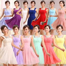 Thick Strap Chiffon Bridesmaid Dress