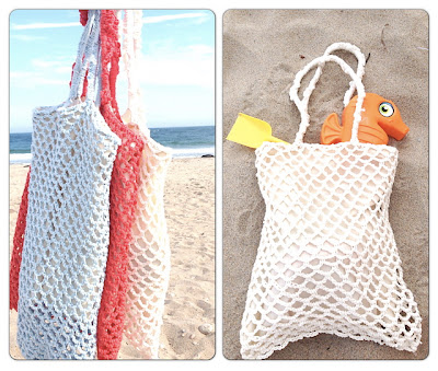 free crochet up-cycled beach bag pattern