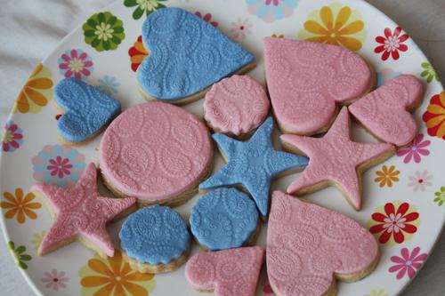 Paisley print embossed vanilla sugar cookies