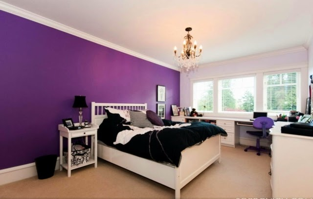 purple bedroom ideas purple  accent wall design with white blanket bed. 15 cool purple bedroom ideas for color schemes and color combinations