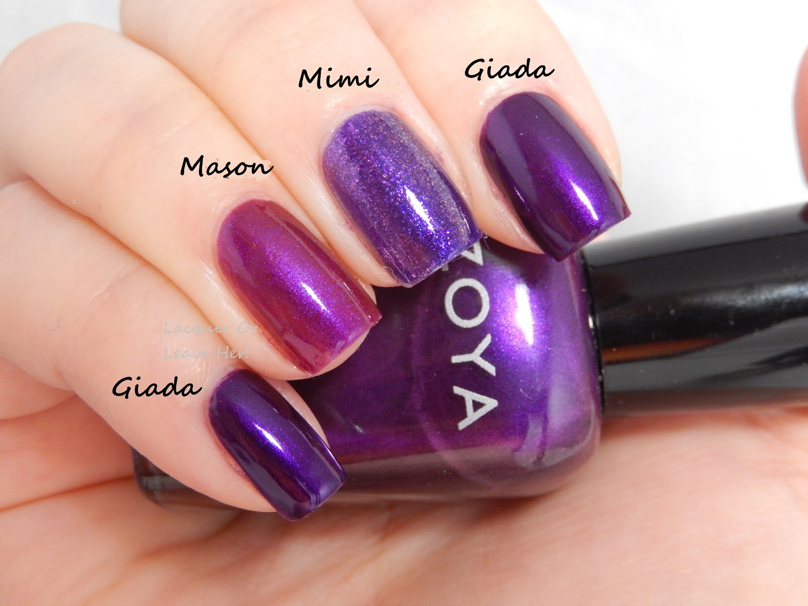 Lacquer or leave her comparison zoya purple shimmers comparison of zoya giada zoya mason and zoya mimi reheart Images