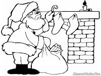 Gambar Santa Memberikan Hadiah Pada Sebuah Rumah Dimalam Natal