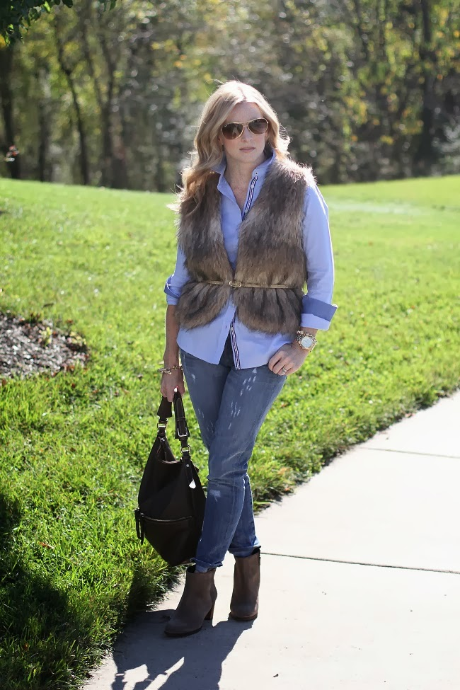 Banana Republic, fur vest, jcrew, dooney and bourke, Ray Ban, distressed denim, lulu looks,