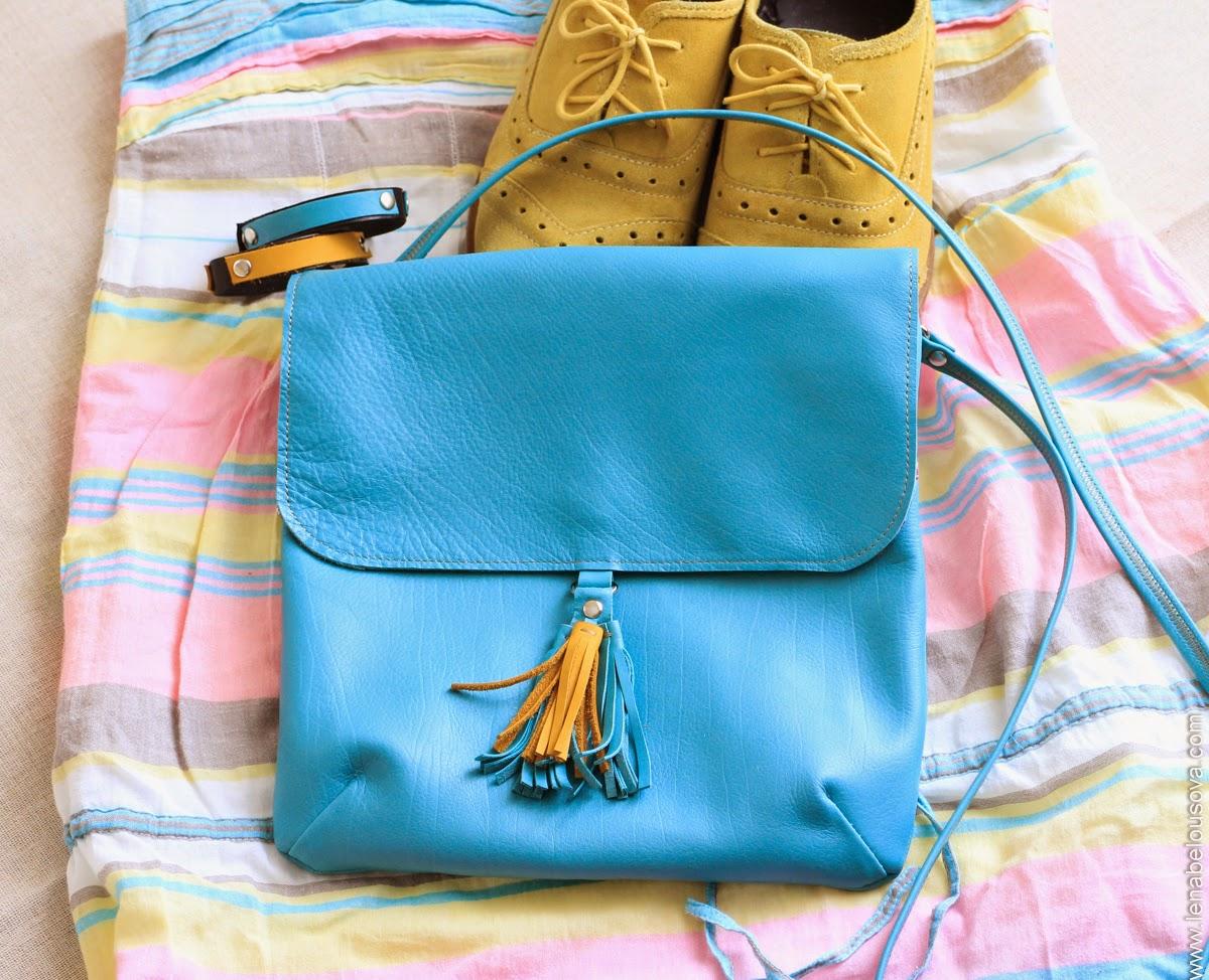 сине-желтая кожаная сумочка