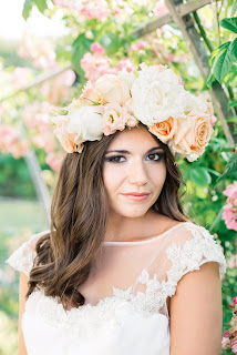 bride smiling wearing a floral crown by Kim Dalglish floristry