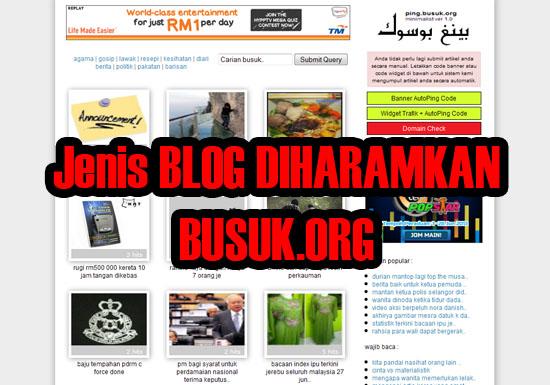jenis blog yang dilarang guna ping busuk