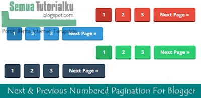 Cara Menambah Navigasi Nomor Next & Previous  di Blogger