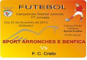 Este sábado dia 23 de Fevereiro, pelas 15h00, jogase a 11ª jornada do . (futebol juniores sport arronches benfica )