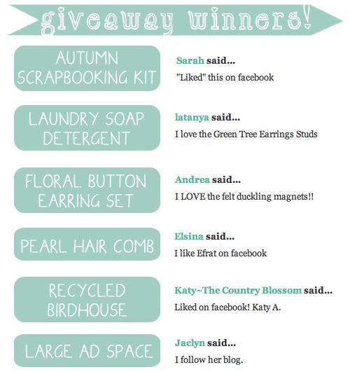 September Giveaway Winners