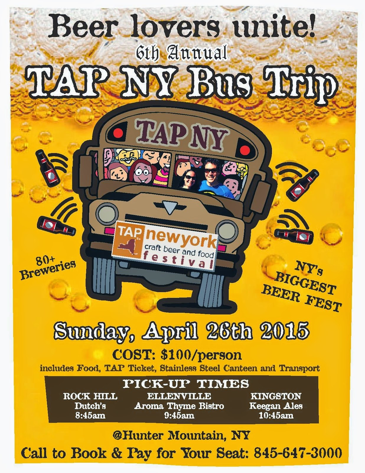 6th Annual TAP NY bus trip from Aroma Thyme | Sunday, April 26th 2015