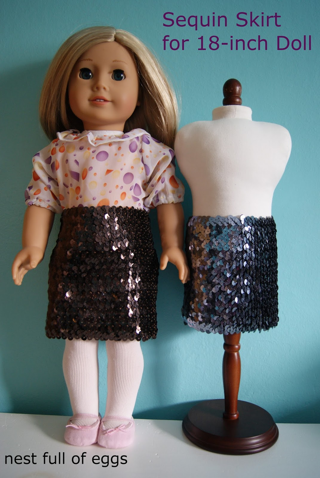 Sequin skirt for 18-inch doll by nest full of eggs