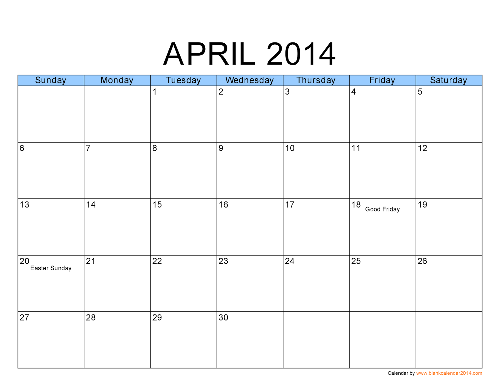 Calendar April Image : Free printable calendar april
