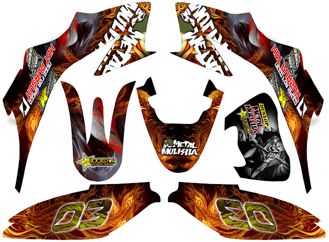 Fire phoenix decals for honda xrm dual sport black