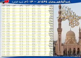 امساكية شهر رمضان 2013 - 1434 بمصر ومواعيد اذان الفجر والمغرب بها