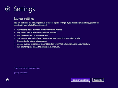 windows 8 setting