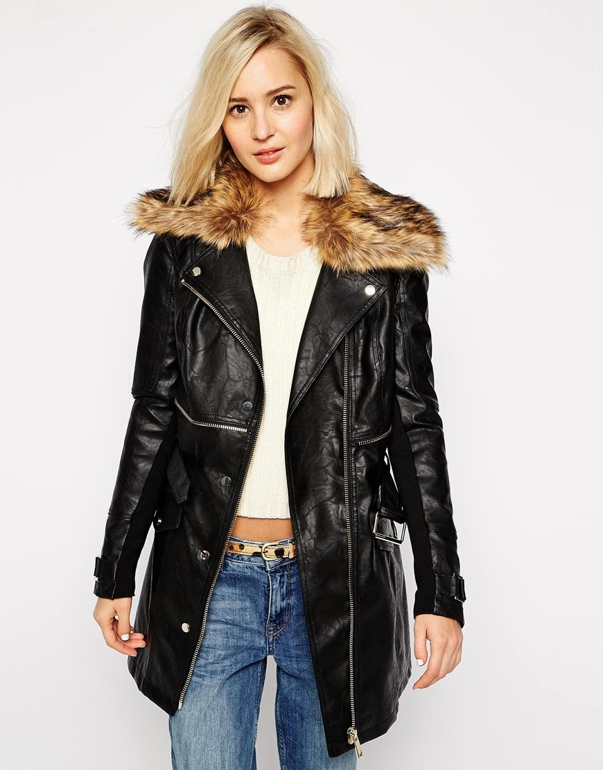 river island leather coat with fur collar, leather trench coat,