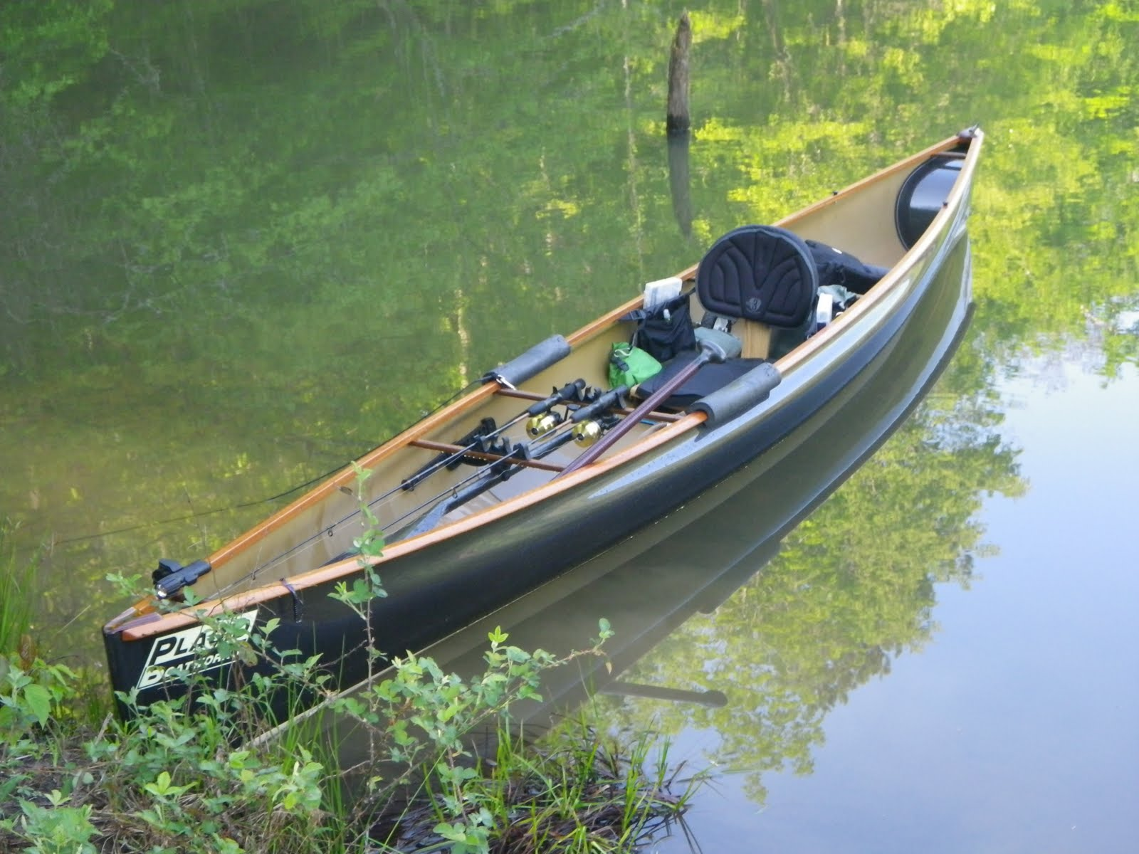 placid boatworks rapidfire canoe rigged for fishing in wv