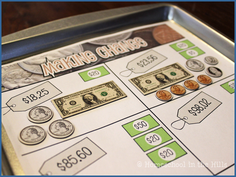 Counting back change from a dollar worksheets