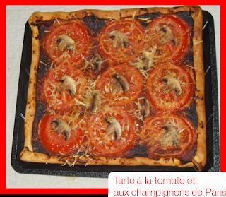 les d lices d 39 alice tarte la tomate et aux champignons de paris. Black Bedroom Furniture Sets. Home Design Ideas