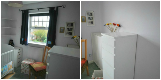 Collage of two pictures of empty shelves and side cupboards