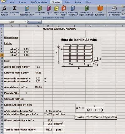 Cálculo de Cómputos métricos en Muros de Ladrillos