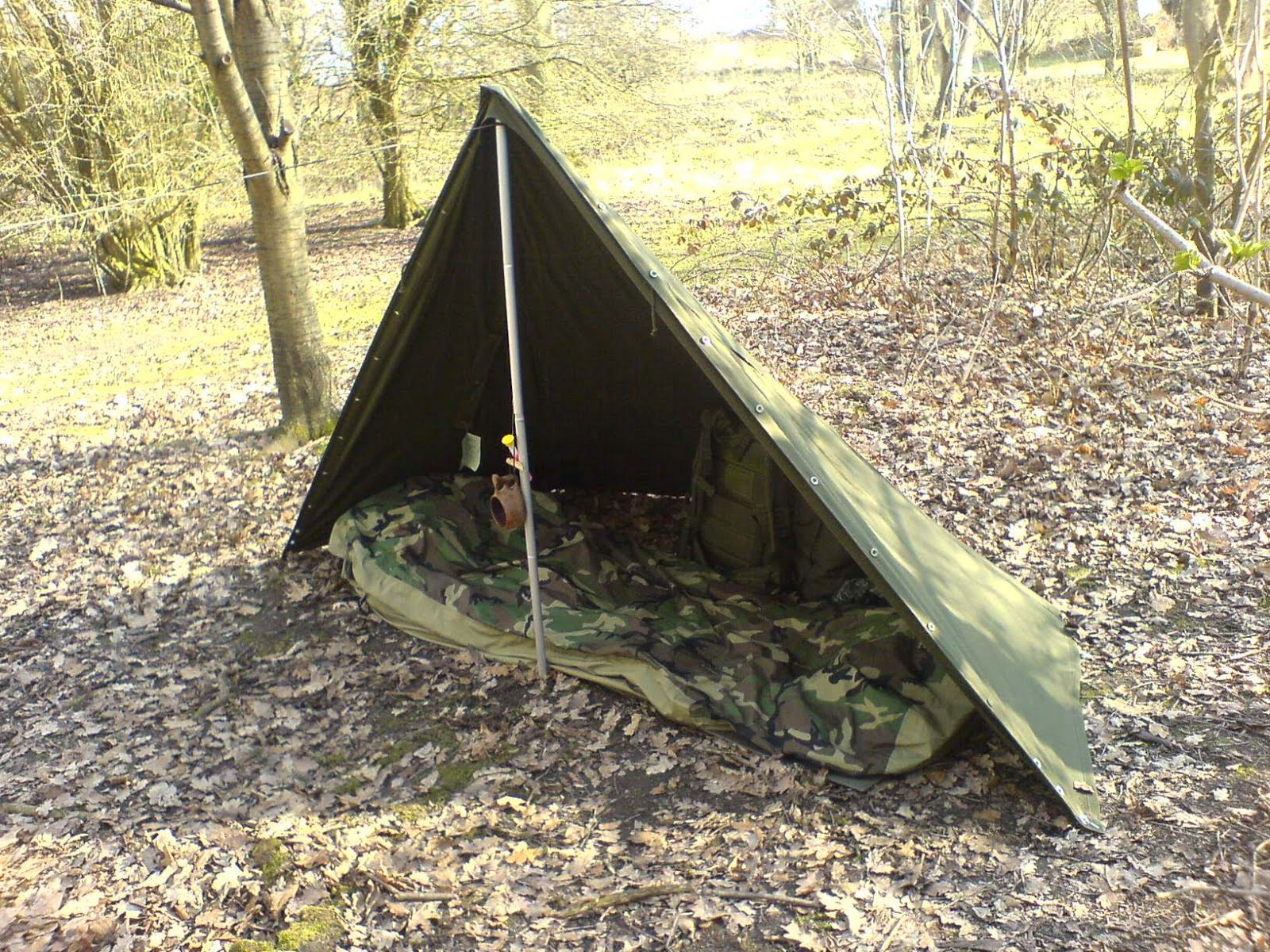Another adaptation for the lone hiker or a good summer time shelter is the single sheet basha - this ia a great little shelter for warmer days. & Wilderness Living - : Polish Army Two Man Tent