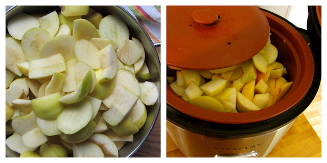 pot on stove with sliced apples and crockery pot filled with sliced apples