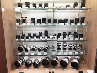 Camera lenses, Canon Showroom, Ginza, Tokyo, Japan.