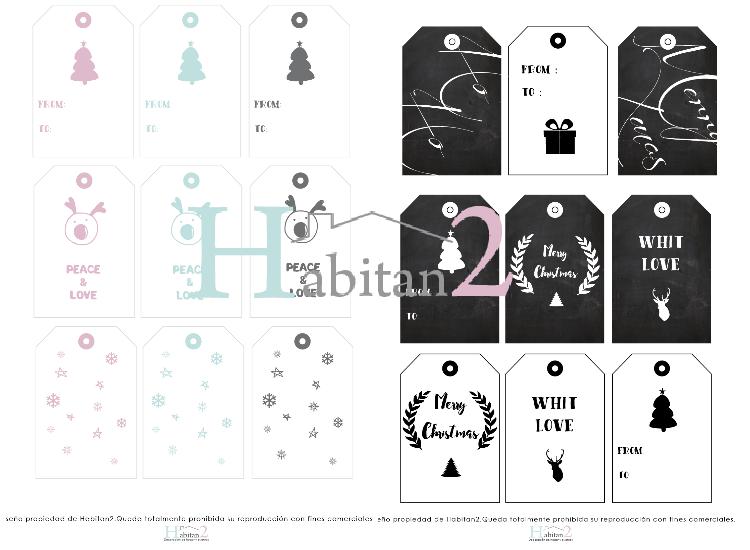 Descargable etiquetas navideñas / Freebies by Habitan2