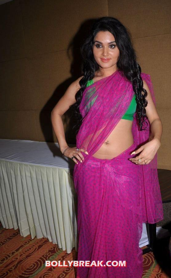 ,  Kavya Singh Pink Saree Green Blouse Hot Photo Shoot