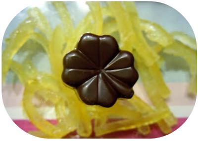 recette praline chocolat noir, praliné noisette et citrons confits