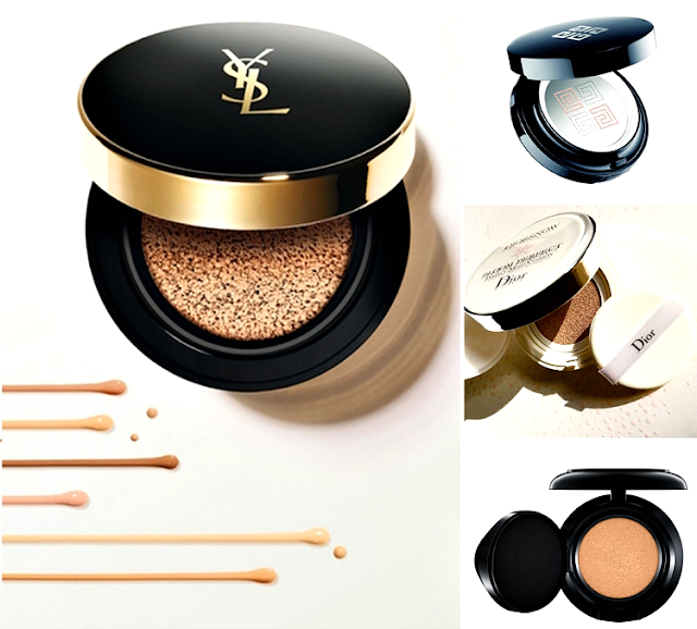 YSL Le Cushion Encre de Peau, Givenchy Teint Couture Cushion, Dior Diorsnow Bloom Perfect Cushion i MAC Matchmaster shade intelligence compact