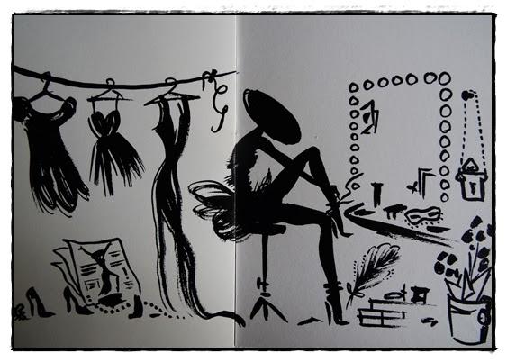 Dessin femme petite robe noire