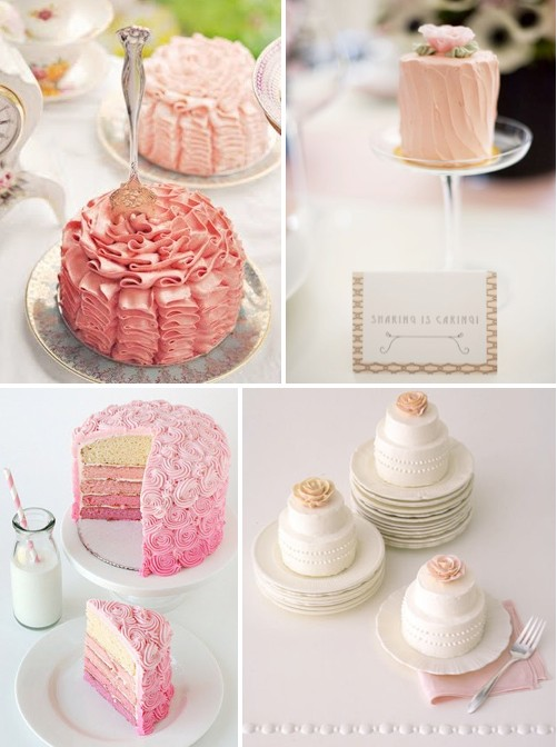 Individual wedding cakes at each table a different