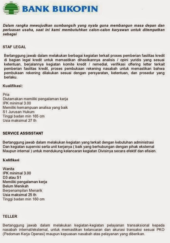 Lowongan Kerja PT. Bank Bukopin ,Tbk Terbaru KC. SOLO April 2015