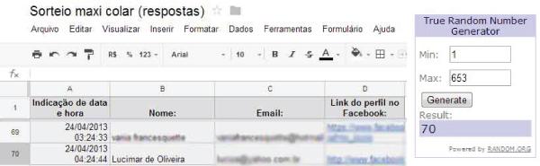 planilha google docs - random.org